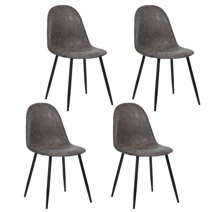 FURNISH1 Lot de 4 Chaises de Salle à manger - Style Scandinave -Design Rétro Vintage en Simili PU - Pied Métal Noir