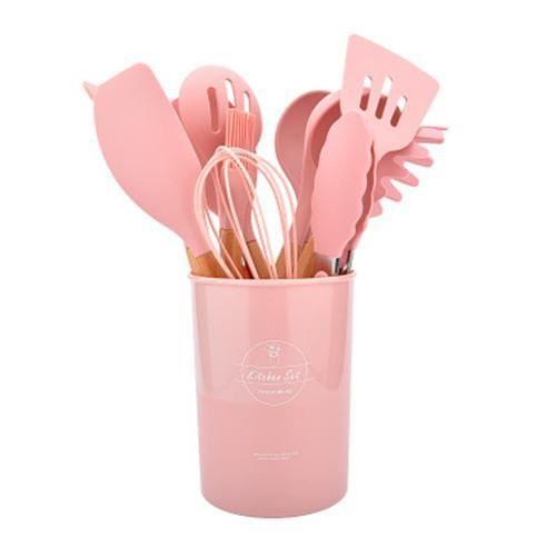 12 pièces,Spatule antiadhésive, appareils de cuisine avec boîte de rangement, ustensiles en Silicone, accessoires de cuisine-rose