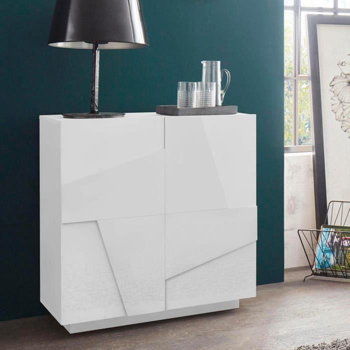 Buffet 2 portes 2 étagères design moderne blanc 81x44cm H86 Ping Side S