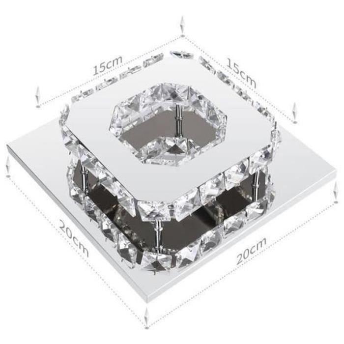 XT16599-STOEX Lumière blanche Plafonnier Lampe Cristal Lampe de Plafond Acier Inoxydable LED Miroir 12W Lustre moderne en crista