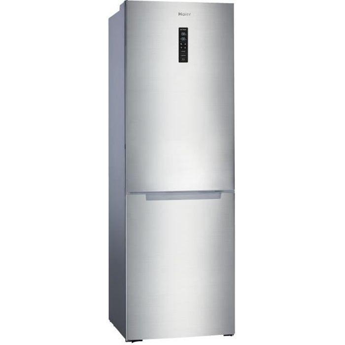 HAIER HBM-686XNFN - Réfrigérateur congélateur bas - 315L (218+ 97) - Froid No Frost - L60 x H185 cm - Simili Inox
