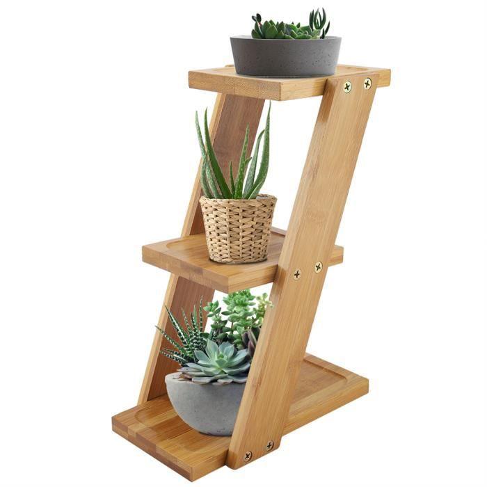JARD☀Étagère Escalier pour Plantes Succulents Support pour Pots de Fleur en Bambou Étagère de Fleur Intérieur Stable 3 Nive☀GOL