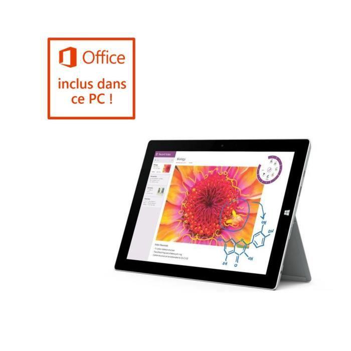 Surface 3 Ecran tactile 10.8'' (Intel Atom x7, Stockage 64 Go, 2 Go de Ram, Windows 10) Cover et Stylet non inclus