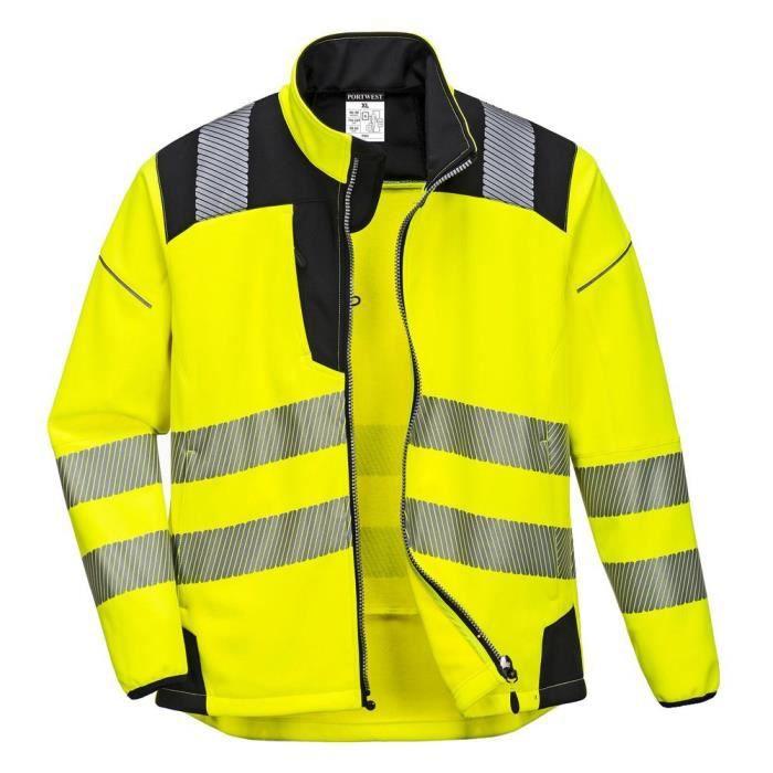 Veste de pluie softshell haute visibilité Portwest Vision - Orange/Noir
