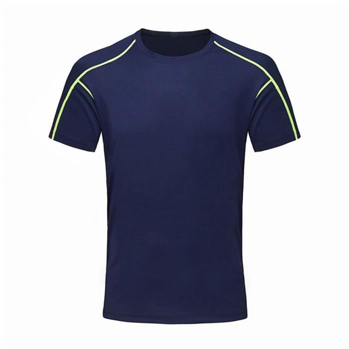 Tee Shirt de Sport Running Homme Fitness Manches Courtes Respirant Confortable Séchage Rapide