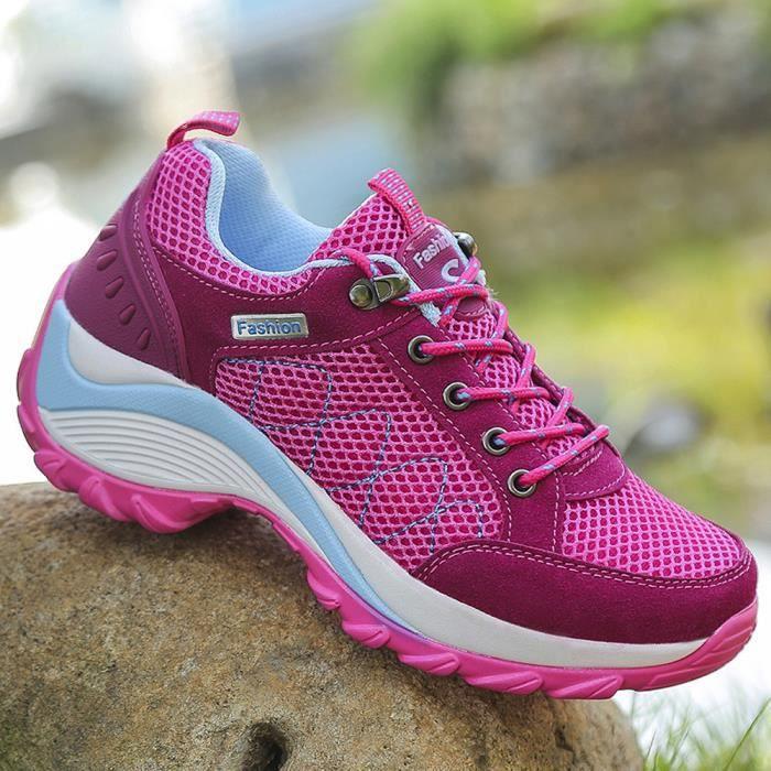 Mid Chaussures Randonnée Femme Confortable Outdoor Sport Filles Rose