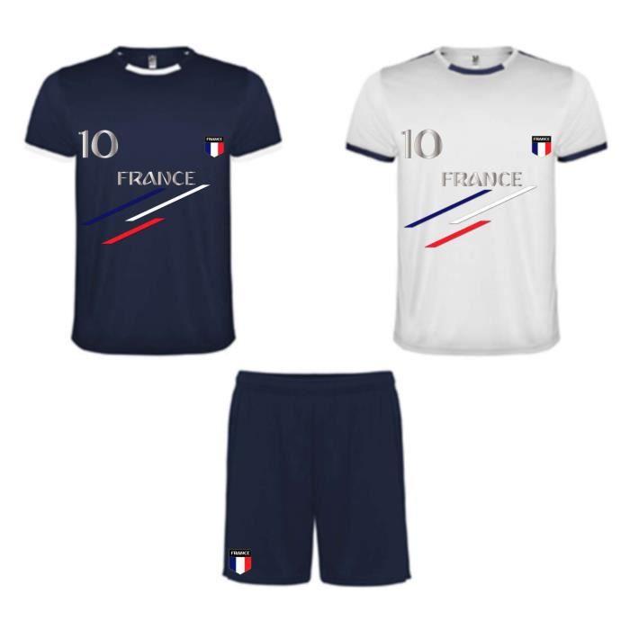 Ensemble de sport enfant short et 2 tee shirt France bleu et blanc