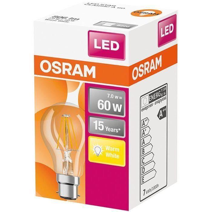 OSRAM Ampoule LED Standard clair filament - 7W équivalent 60W B22 - Blanc chaud