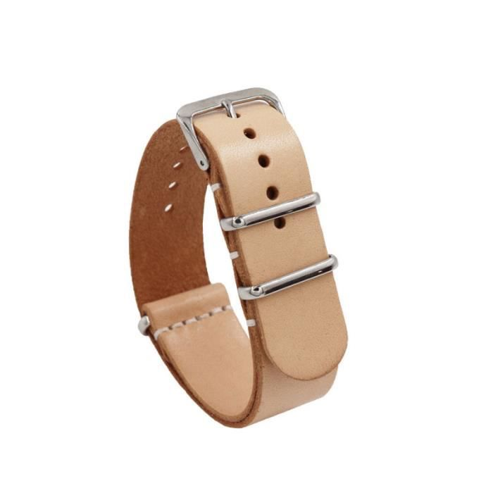 1PC 18mm Leather Watch Band Cattlehide Wristband Replacement Strap (Black) MONTRE CONNECTEE SPORT