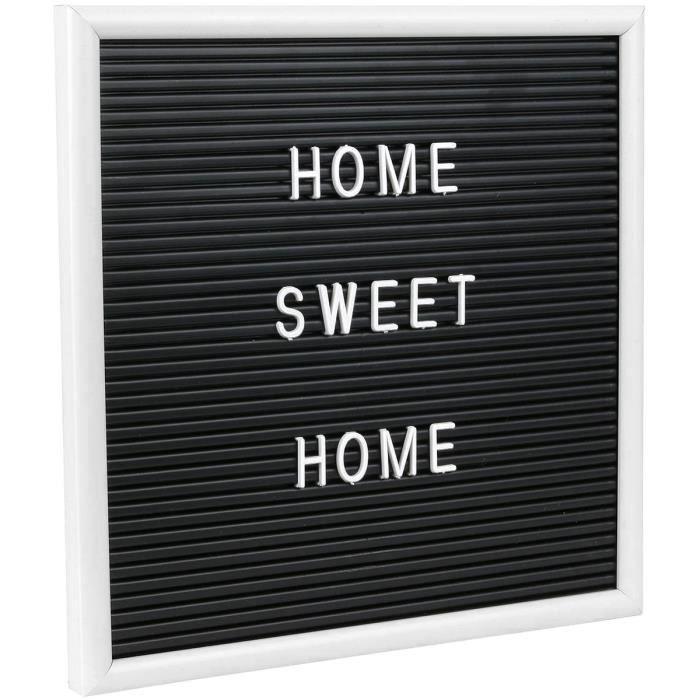 Tableau A Message Cadre Letter Board Avec 166 Lettres A Inscrire 25 x 25 cm Contour Blanc Noir