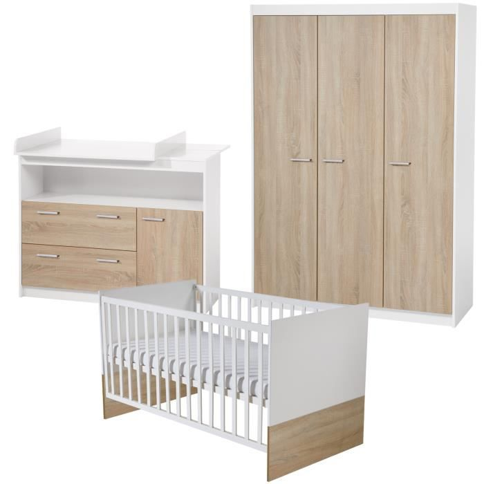ROBA Ensemble de meubles bébé -Gabriella-, lit combiné 70x140 cm, commode à langer, et armoire à 3 portes