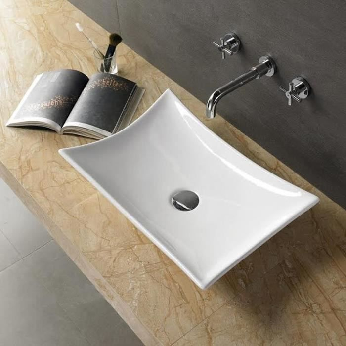Vasque à Poser Rectangulaire - Céramique - 58x39 cm - Wing