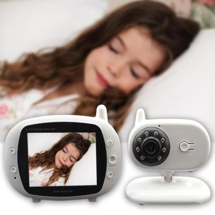 Sopear® BabyPhone vidéo Multifonctions 3.5 pouces avec vision de nuit 2.4GHz MP3 sans fil IP Baby Monitor Ecoute bébé vidéo