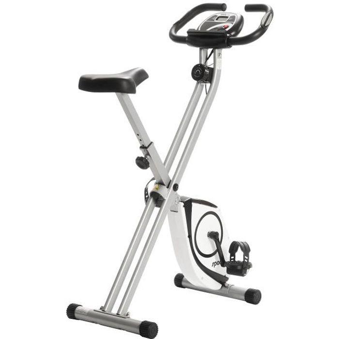 Vélo d'Appartement Pliable - SportPlus, SP-HT-1002, ultra compact, 8 Niveaux de Résistance, Capteurs de Pouls intégrés