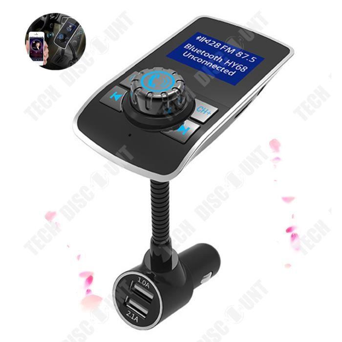 TD® Kit voiture Bluetooth mains libres Bluetooth Charge rapide - Chargeur double USB Lecteur mp3 Transmetteur FM - Accessoire auto