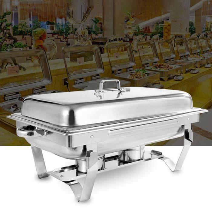 TEMPSA 11L Chafing-dish inox - Poêle Buffet Récipient en acier Inoxydable - Chauffe-plats avec couvercle Isolation
