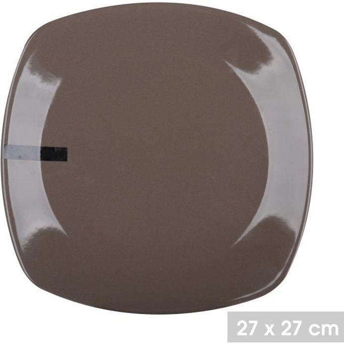 Lot 6 Assiettes Taupe Chocolat Carré 27 x 27 cm