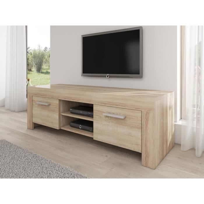 rome meuble tv contemporain d cor ch ne clair 160 cm achat vente meuble tv rome meuble tv. Black Bedroom Furniture Sets. Home Design Ideas