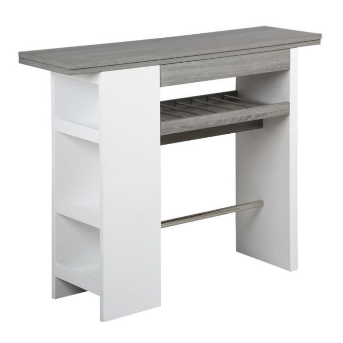 Table de bar blanc laqu ch ne gris achat vente meuble - Table de bar blanc laque ...