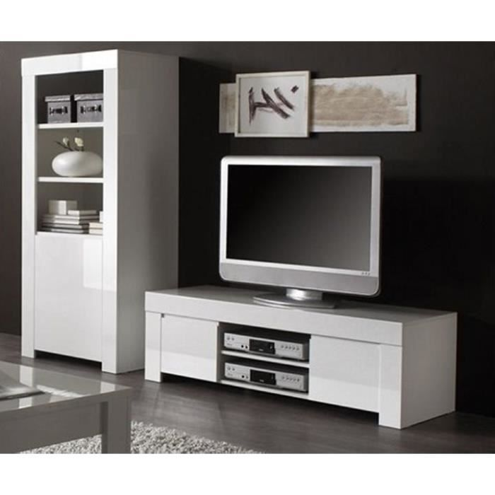 Meuble t l moderne blanc laqu e trendy meuble house - Meuble tele but blanc ...