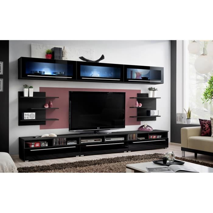 Meuble de salon tv cristo complet design led achat - Meuble salon complet ...