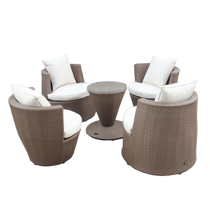 Ensemble salon jardin - chaises empilables, table - effet ...