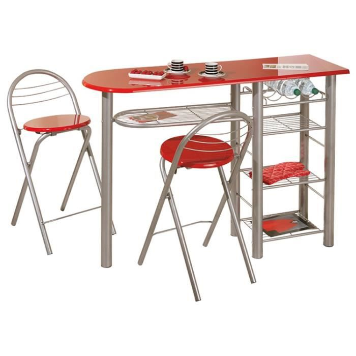 Ensemble de table bar et 2 tabourets rouge dim achat for Achat table bar