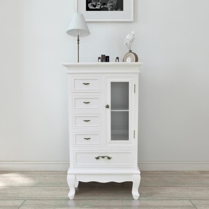 ARMOIRE DE CHAMBRE Armoire blanche et meuble de rangement Avec 5 tiro