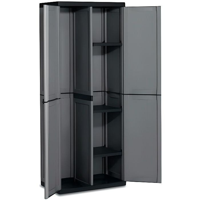 armoire haute range balai en plastique anthracitetique achat vente bac de rangement outils. Black Bedroom Furniture Sets. Home Design Ideas