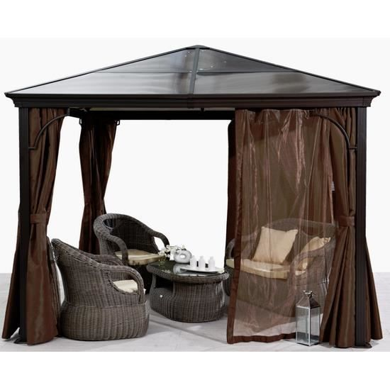 pergola carr e toit rigide avec rideaux coloris achat vente tonnelle barnum pergola. Black Bedroom Furniture Sets. Home Design Ideas