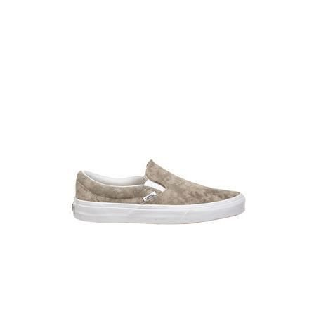 Baskets Femme Slip On U Classic Vans Metallic Marbree Kaki Blanc