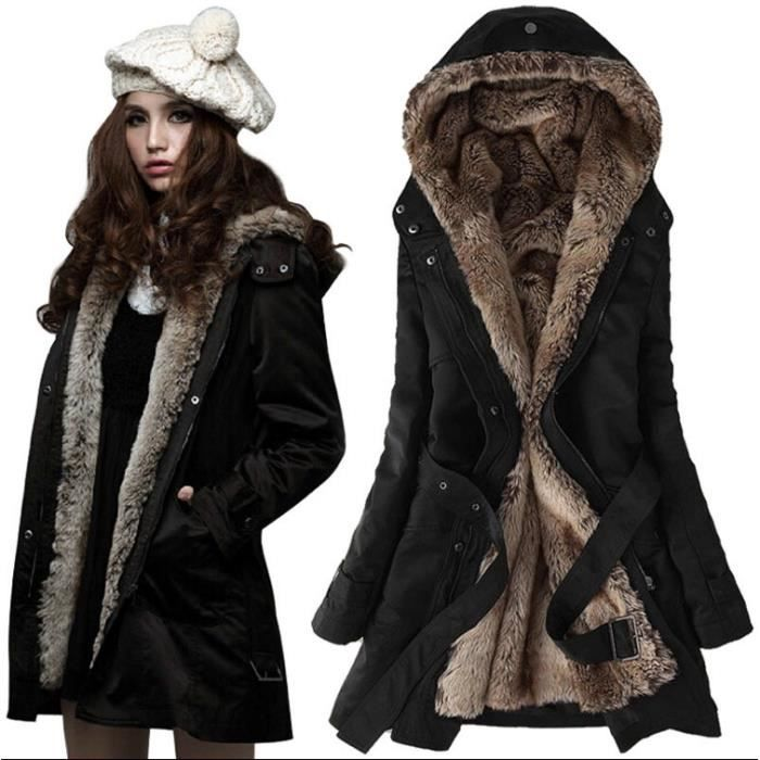 femme epaissir fleece faux fur manteau chaud d 39 hiver simple flavor noir achat vente manteau. Black Bedroom Furniture Sets. Home Design Ideas