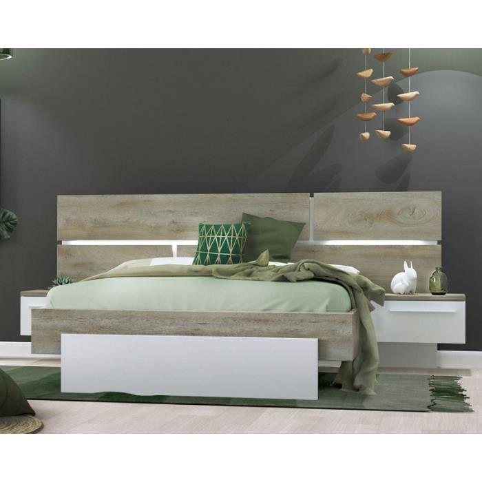 cadre tete de lit 140 190 chevets chene delave blanc mat florine l 244 x l 198 x h 40 102