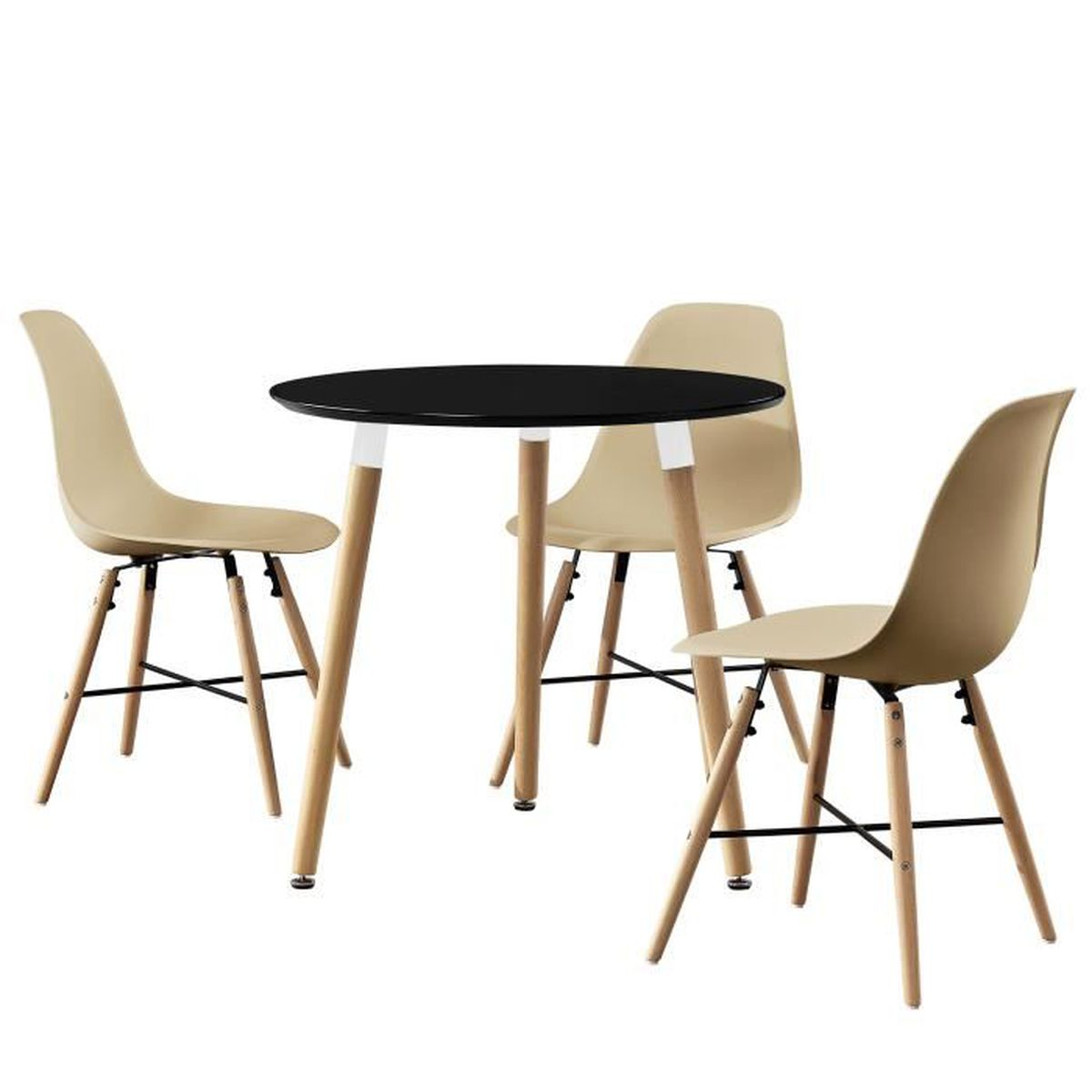 Table manger ronde noir 80cm avec 3 chaises for Table a manger plus chaise