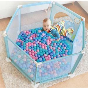 PARC BÉBÉ Parc Bébé Pliable avec 10 Balles, Bleu 116 x 116cm