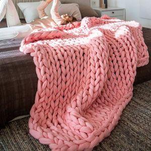 COUVERTURE - PLAID TEMPSA 100x150cm Doux Chaud Main Chunky Knit Couve