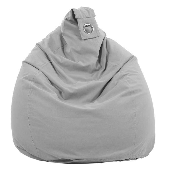 POUF - POIRE Poire déhoussable en coton FLO - Ø75x110 cm - Gris