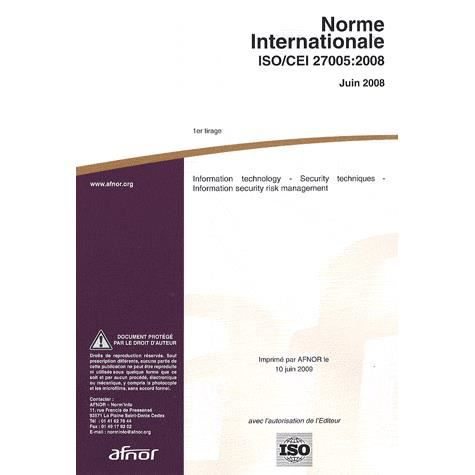 LIVRE GESTION Norme internationale ISO/CEI 27005:2008