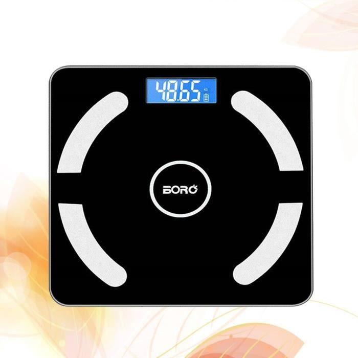 Balance électronique - intelligente Bluetooth appelée graisse corporelle appelée balance de pesée en santé humaine -Noir