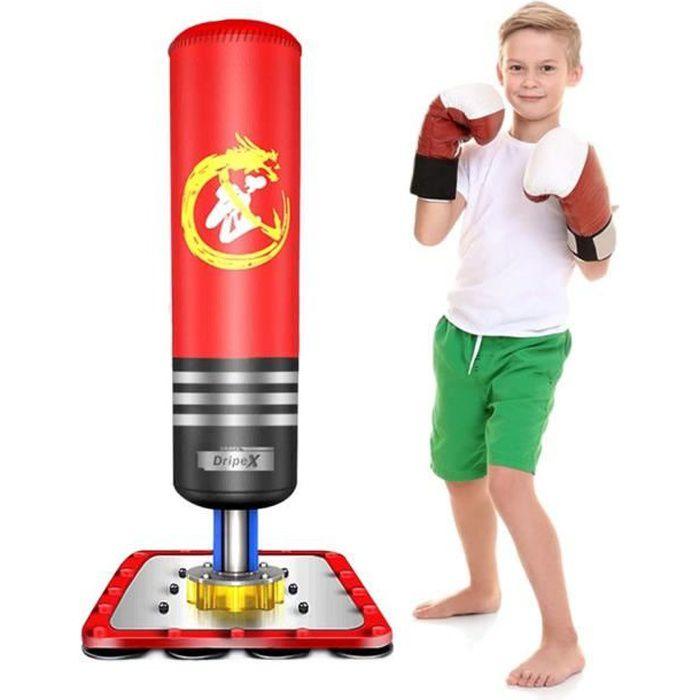 Sac de frappe sur pied boxing Punching Ball enfant 120cm - Rouge