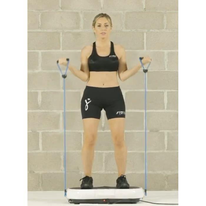 Plateforme vibrante avec elastique muscler bras jambes fesses cuisses - aide à maigrir lutter cellulite vibro sport fitness shaper 3