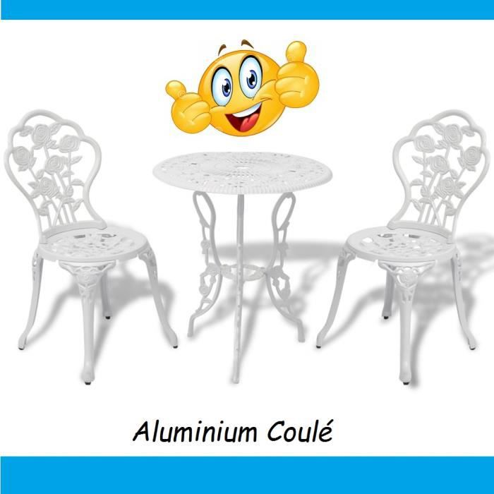 Ensemble Table et chaises en Aluminium Blanc effet Fer Forgé Balcon Jardin Bar