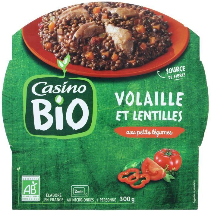 CASINO Poulet et Lentilles Bio - 300G