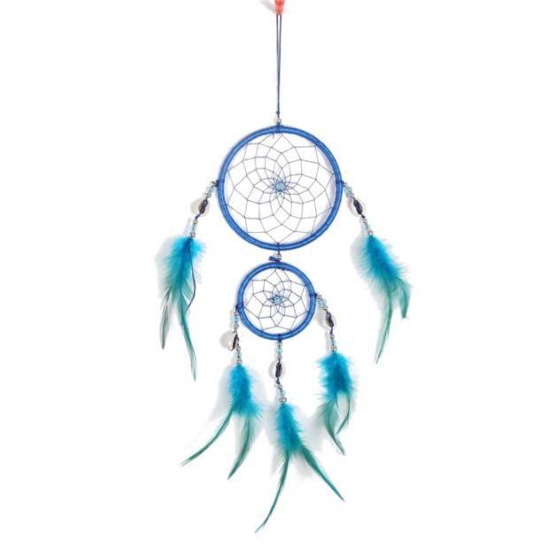 Attrape Rêve - Traditionnel - 2 Cercles - Bleu
