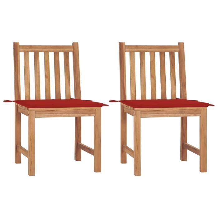 Lot de 2 Chaises de jardin Chaises d'extérieur Ergonomique - Fauteuil de Jardin Fauteuil Relax avec coussins Bois de teck massi ®OKR