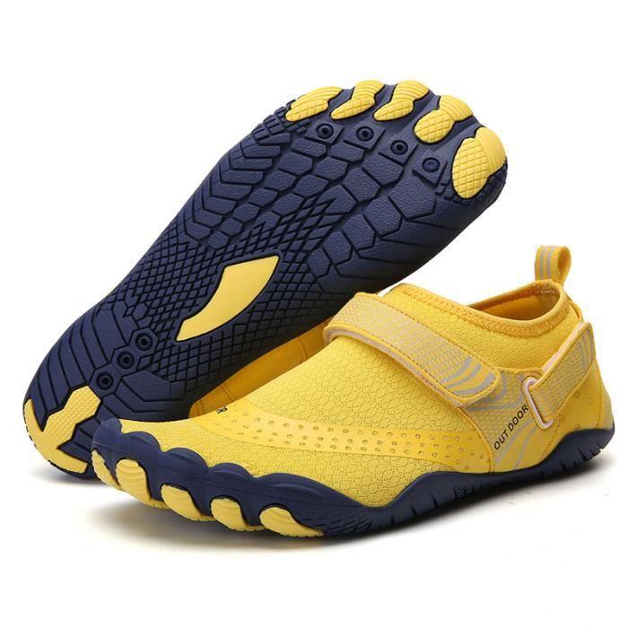 A021 Yellow 44 -Vanmie – chaussures de Sport aquatique pour hommes et femmes, baskets de plage, nu pieds pour la natation, taille 38