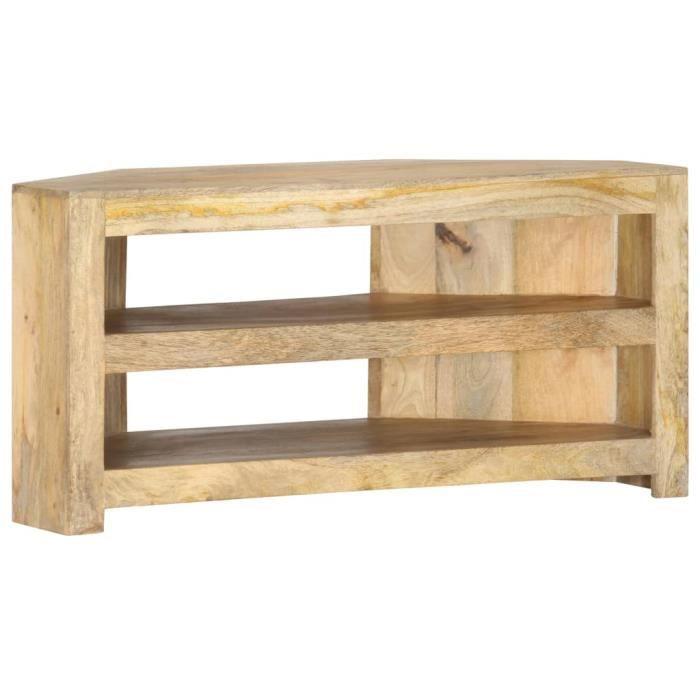 Meuble TV Bas - Meuble de salon MEUBLE HI-FI Table Basse -contemporain d'angle 90x45x45 cm Bois de manguier solide