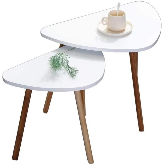 TABLE BASSE Etnicart - Lot de 2 tables basses blanches en bois scandinaves, 60 x 40 x 45 cm de haut et 46 x 30 x 41 cm de haut, 63