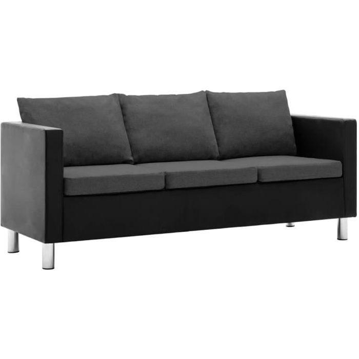 Canapé à 3 places Simili-cuir Noir et gris foncé HB056