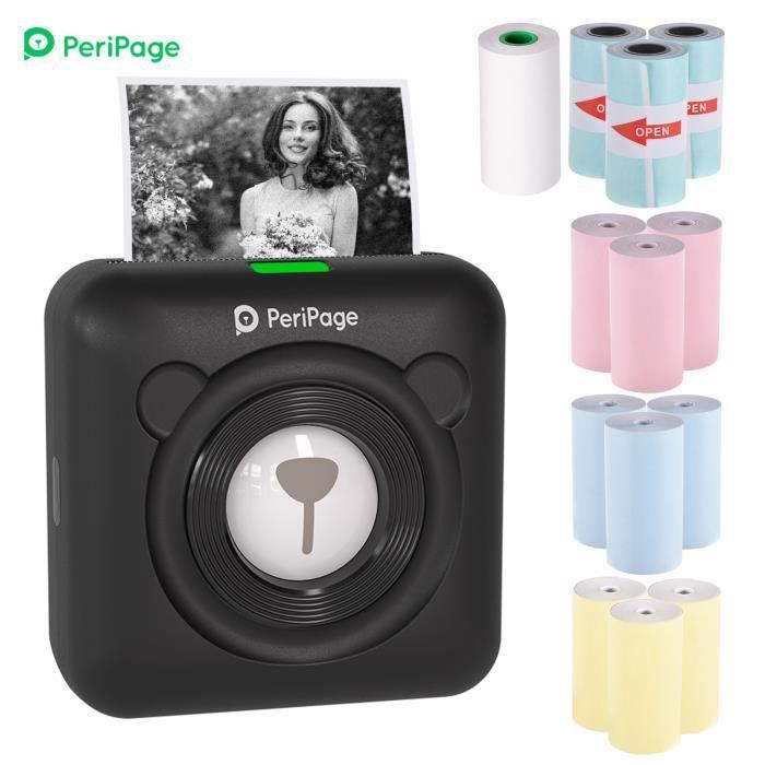 PeriPage Mini Imprimante thermique BT Papier Ticket Mémo Etiquette Image avec 12 rouleaux de papier thermique Noir